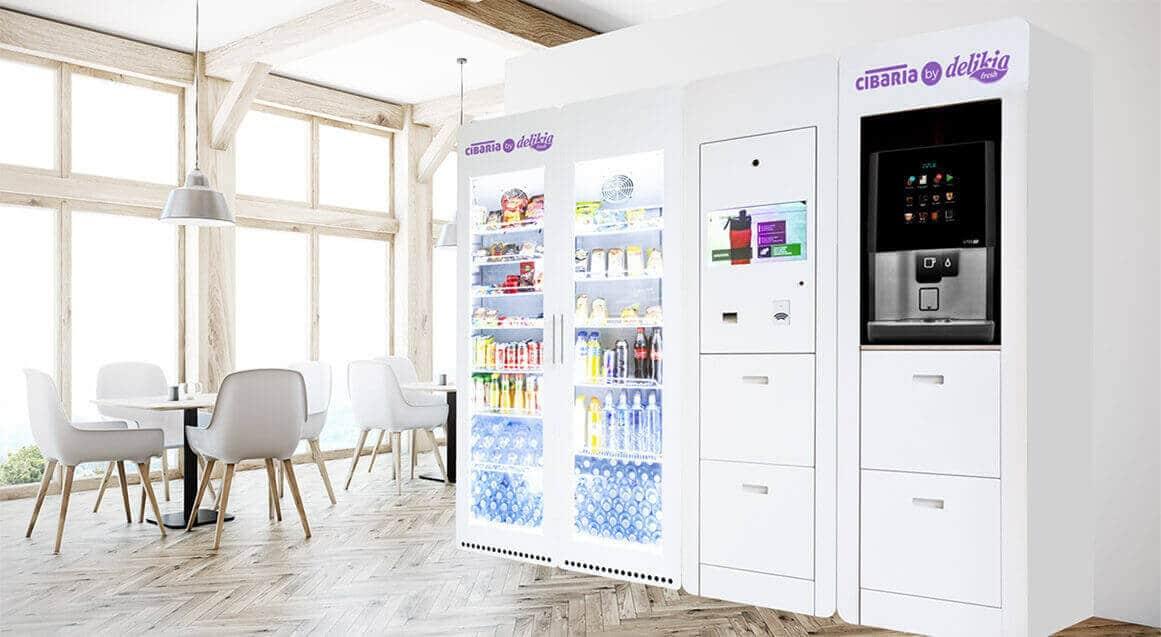 Salon con maquinas de vending de Delikia