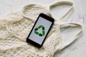 móvil símbolo sostenible
